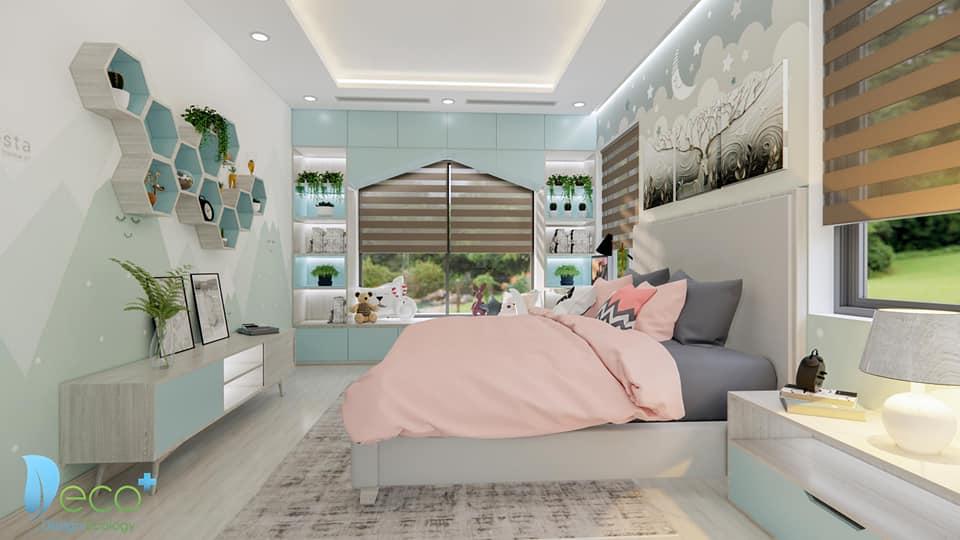 Phòng ngủ với sự kết hợp ăn ý của 2 gam màu pastel : Màu Hồng và xanh oliu