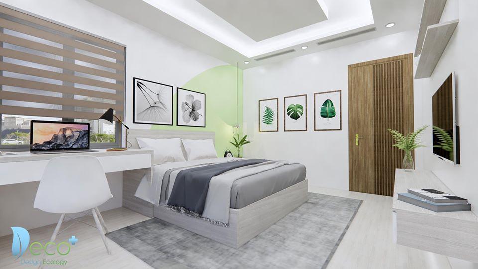 Căn phòng ngủ được thiết kế nội thất chuyên nghiệp, hiện đại