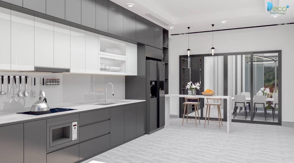 Căn bếp biệt thự đẹp - Hiện đai, sang trọng đúng tone màu ghi xám mà khách hàng yêu cầu.
