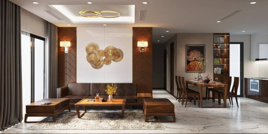 Tổng thể nội thất chung cư phòng khách