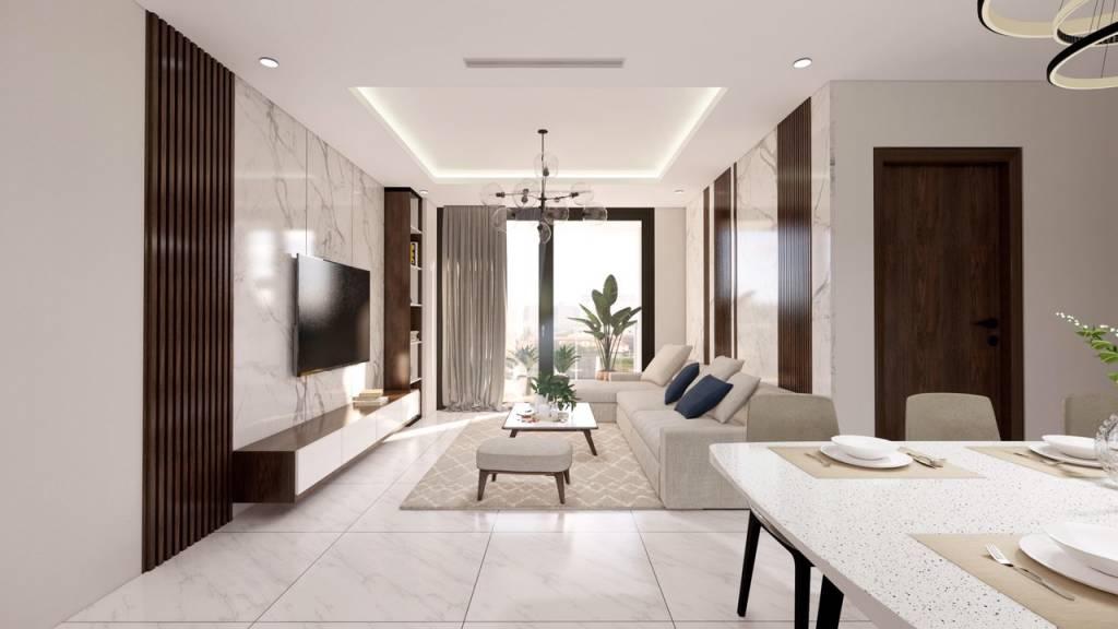 Phòng khách chung cư hiện đại nhưng không kém phần sang trọng.