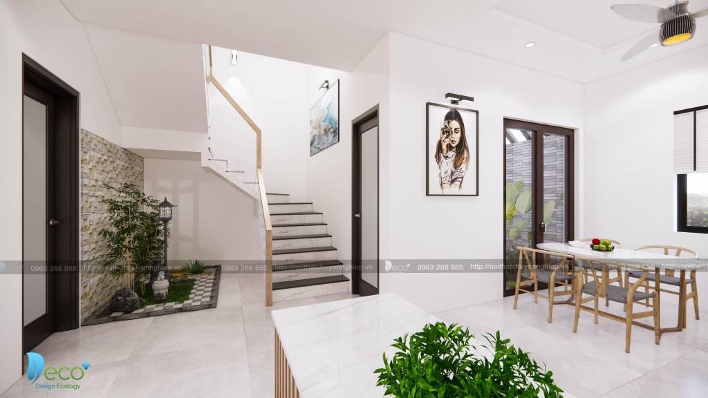 Thiết kế nội thất Phòng ăn thoáng đãng liên thông với phòng khách