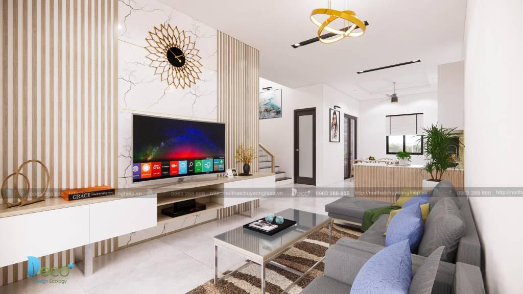 Thiết kế nội thất phòng khách sang trọng trẻ trung