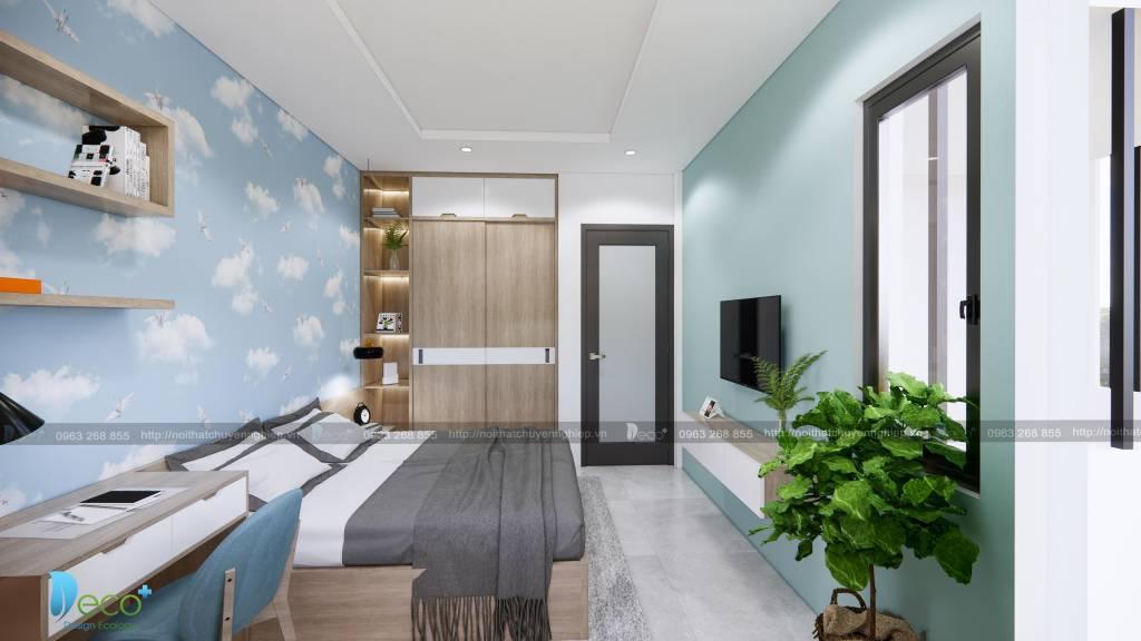Thiết kế Phòng ngủ hiện đại trẻ trung với tone màu ghi xám kết hợp các mảng xanh