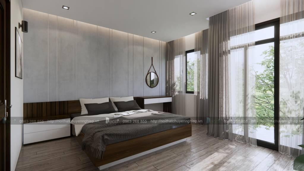 Thiết kế nội thất phòng ngủ với tone màu ghi xám hiện đại