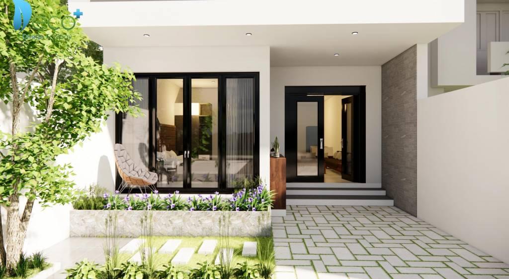 thiết kế kiến trúc nhà phố - Vườn hoa nhỏ xinh nơi sân vườn thoáng đãng