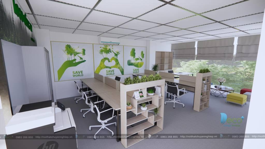 Nội thất văn phòng trẻ trung hài hòa với không gian xanh
