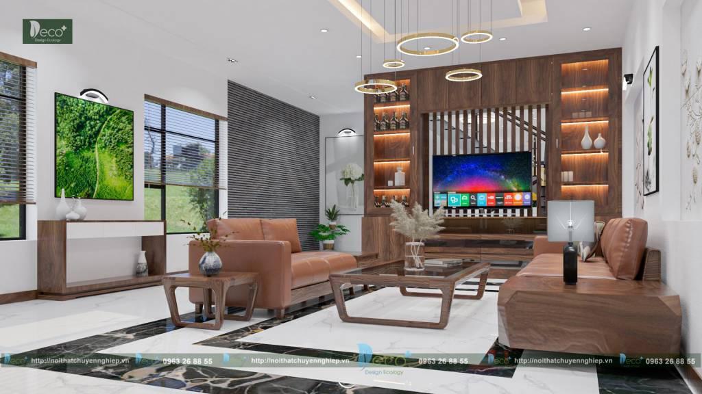 Nhà phố đẹp - Thiết kế full nội thất bởi Deco+ - Phòng khách hiện đại