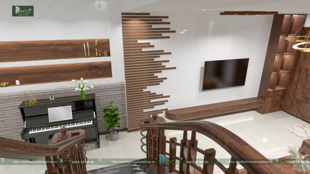 nội thất vĩnh yên vĩnh phúc - Hệ thống nan gỗ được sắp đặt nghệ thuật tạo nên điểm nhấn mềm mại cho toàn bộ không gian.