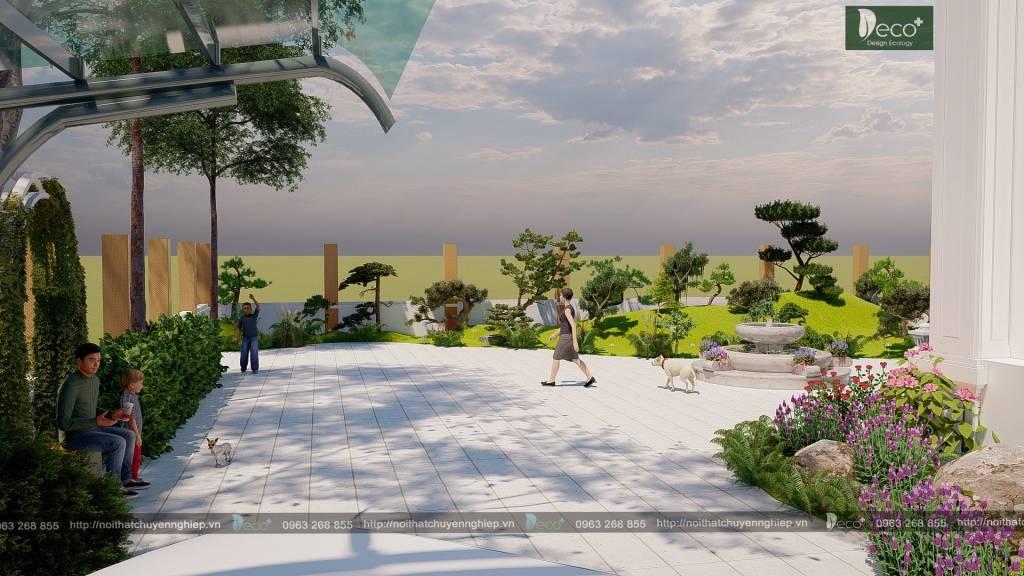 Tiểu cảnh sân vườn đẹp - Ưu tiên các loại cây phong thủy, cây tùng, cây phát tài núi