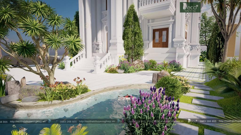 Tiểu cảnh sân vườn đẹp - Cậy bụi và các loại cây nhỏ được sử dụng để tạo bóng mát và độ ẩm
