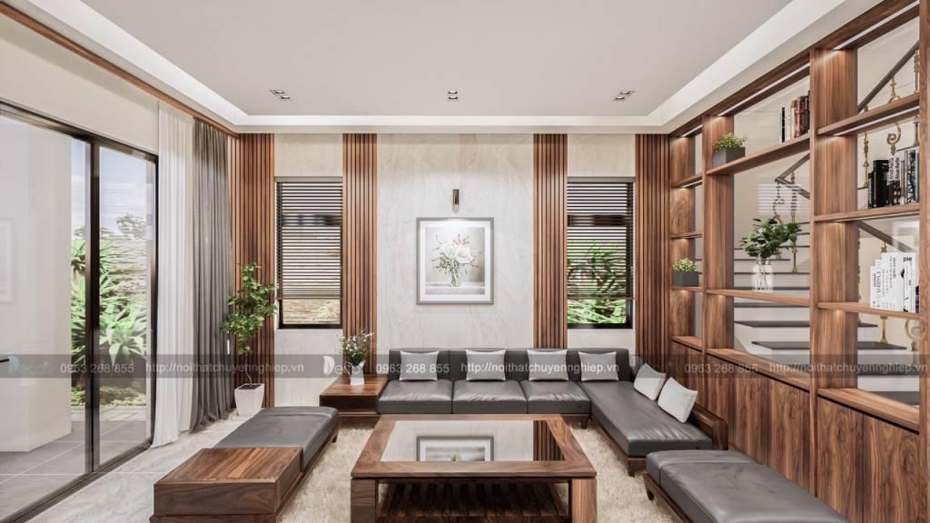 nội thất tinh tế - Phòng khách với điểm nhấn gỗ trang trí