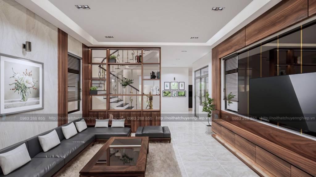 nội thất tinh tế - Phòng khách với điểm nhấn gỗ trang trí , tủ kệ trang trí độc đáo