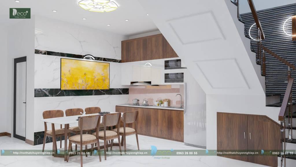 thiết kế nội thất đẹp - Phòng ăn và phòng bếp tiện nghi nhưng rất đơn giản, không rườm rà
