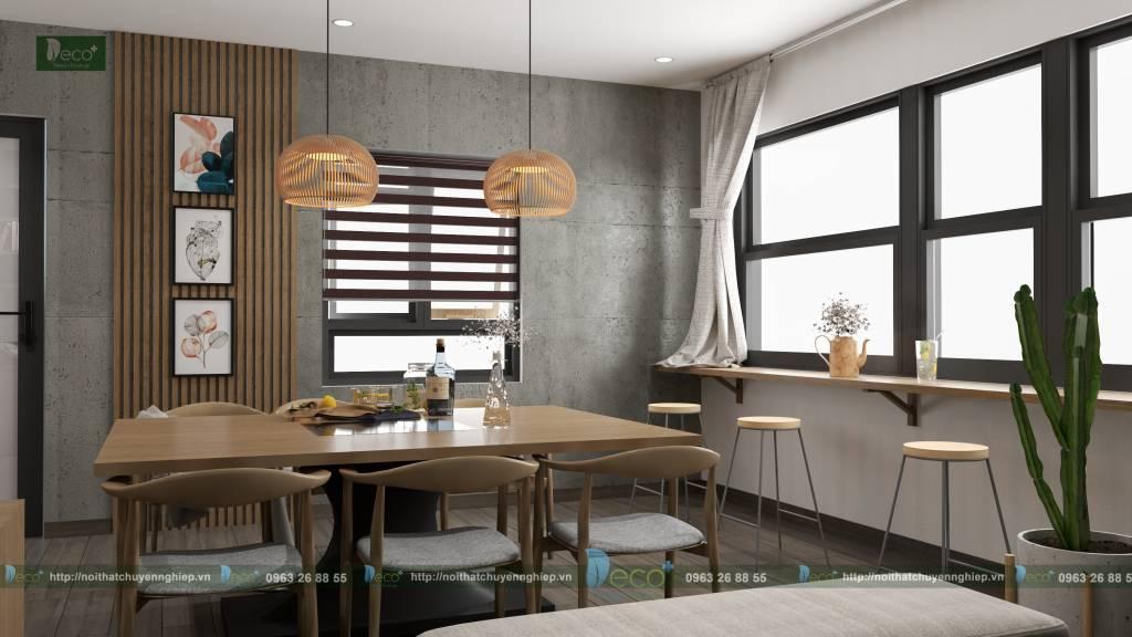 nội thất vĩnh yên - không gian sinh hoạt chung độc đáo với điểm nhấn bê tông mài.