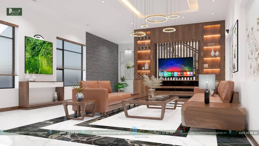 Nội thất vĩnh yên - Không gian nội thất phòng khách thoáng đãng hiện đại và thông mình