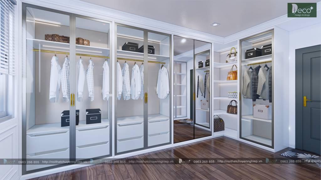 Phòng thay đồ với hệ tủ được sắp xếp khoa học và thẩm mỹ