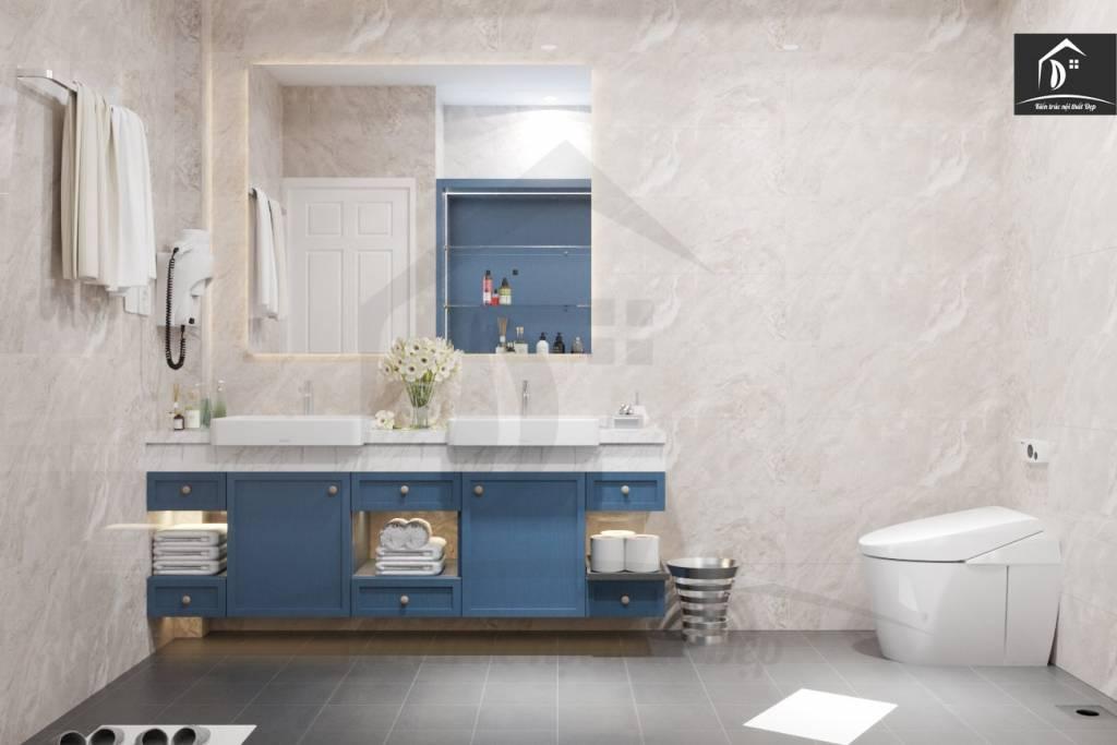 Tủ lavabo kết hợp với kệ để đồ tiết kiệm không gian nội thất phòng tắm