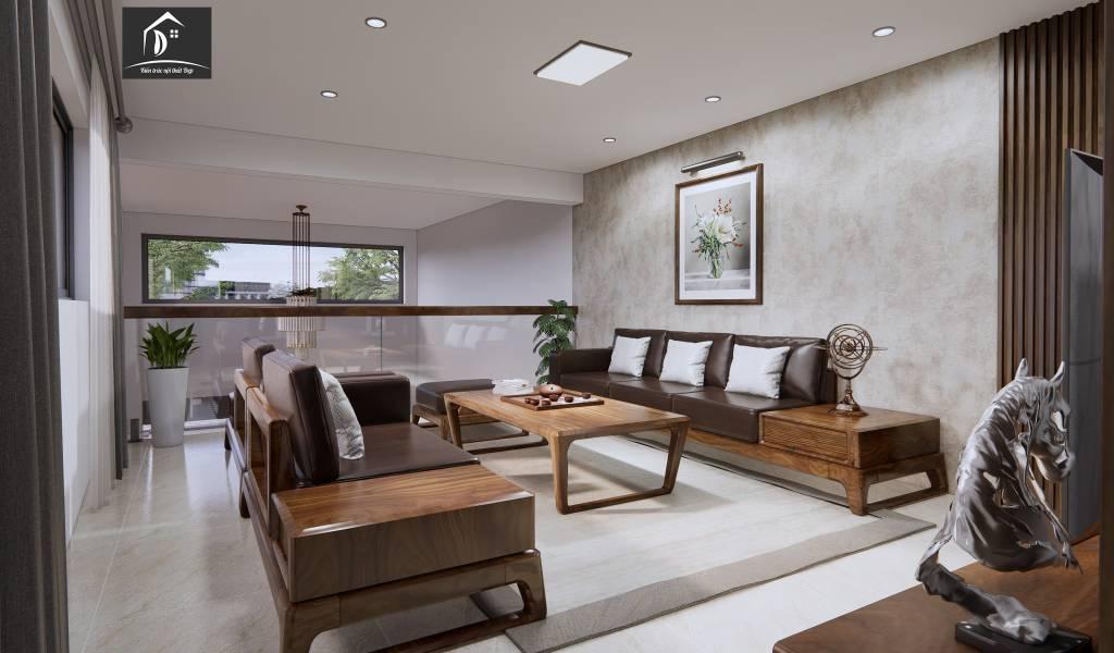 Phòng khách tầng lửng làm từ gỗ tự nhiên