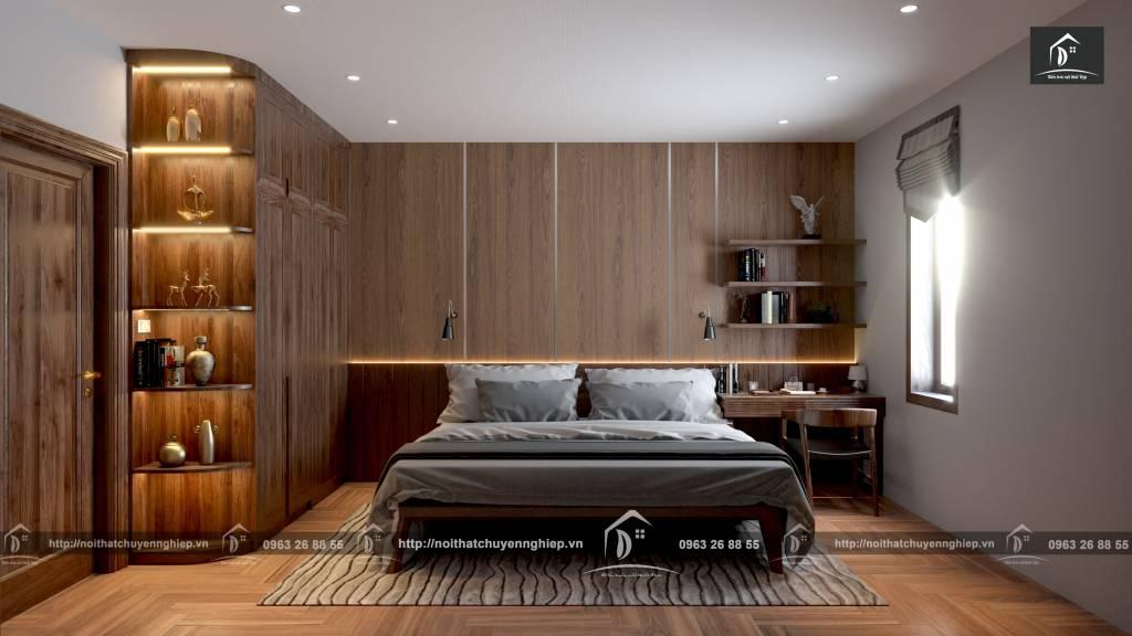 Không gian phòng ngủ ấm cúng với gỗ tự nhiên