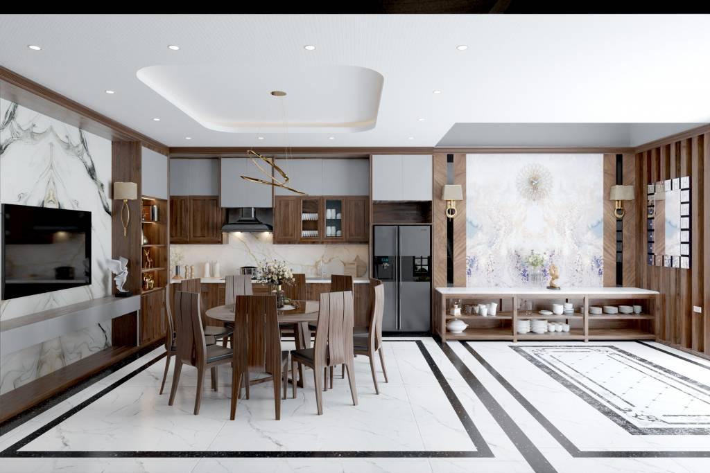 Không gian phòng bếp ấm cũng với chất liệu từ gỗ tự nhiên - Mẫu nhà đẹp